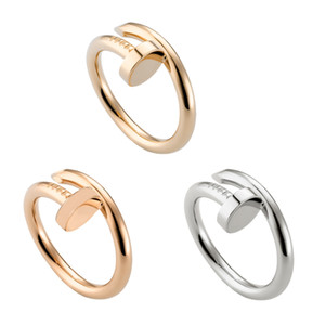 Wholesale Titanium Steel Gold Silver Nail Love Ring For Women Men Cubic Zirconia Engagement Wedding Ring Anillos Bague Femme Luxury Design C19041203