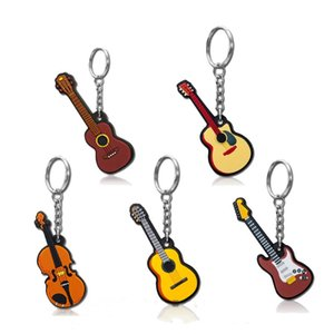 New Fashion Guitar Keychain Porte Cles PVC Mini Musical Instrument Violin Key Chains for Women Men Pendant Bag Jewelry Kids Toys