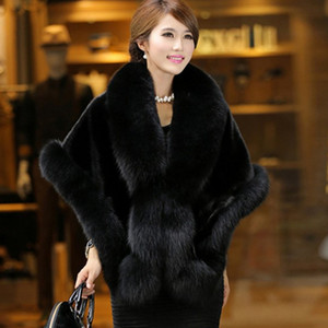 Wholesale Faux fur coat female long section mink hair new Korean version of the imitation fur collar shawl