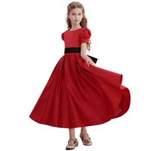Wholesale Vintage Burgundy Long Flower Girl Dresses Short Sleeves Jewel Neck Ankle Length Formal Occasion Dresses for Kids Prom Party Holiday