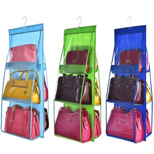 Wholesale 6 Pocket Hanging Handbag Organizer for Wardrobe Closet Transparent Storage Bag Door Wall Clear Sundry Shoe Bag with Hanger Pouch