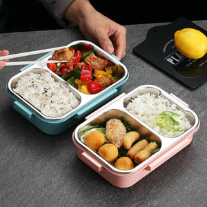 Wholesale lunch box adults resale online - Stainless Steel Lunch Box with Spoon Leak proof Lunch Bento Boxes Dinnerware Set Microwave Adult Children Food Container