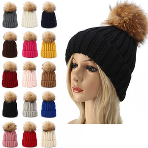 Wholesale baby hat bonnet for sale - Group buy Kids Knitted Beanie Hats Cute Baby Winter Warm Bonnet Pompom Ball Hat Children Outdoor Weave Ski Cap TTA1697