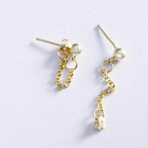 серьги с ушами оптовых-luxury jewelry S925 sterling silver earrings gold ball shape double ear piercing earrings for women hot fashion