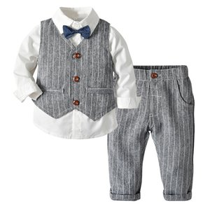 Wholesale childrens clothing resale online - Toddler Boy Clothes Spring Suit Gentleman Wedding Party Shirt Vest Pants Childrens Gentleman Three Piece Suit Boys Autumn And Winter Whi