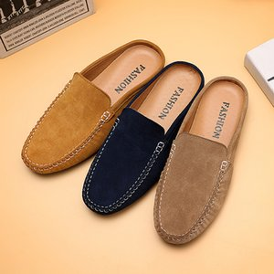 Wholesale Summer Men Flats Leather Sneakers Half Drag Slippers Man Suede Leather Loafers Footwear Male Casual Boat Shoes Designer Men Shoe