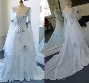 Wholesale Vintage Celtic Wedding Dresses White and Pale Blue Colorful Medieval Country Bridal Dress Corset Long Bell Sleeves Appliques Wedding Gowns