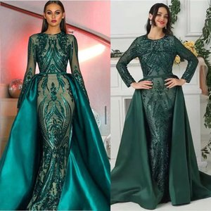 GiayMus Sparkly Sequined Mermaid Evening Dresses With Detachable Overskirt New 2019 Modest Arabic Eremald Green Formal Prom Party Gowns on Sale