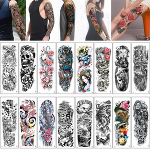 48x17cm TQB Large Big Tattoo Sticker Fish Skull Tiger Fairy Tale Woman Man Waterpfoof Temporary Full Arm Leg Sleeve Body Art Tattoos Designs