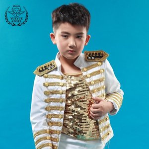 Wholesale Childrens Costumes Stage British Bright Sequin Jacket Boy Student Performance Metal Tassel Boys Coat Baby Clothing White Jackets