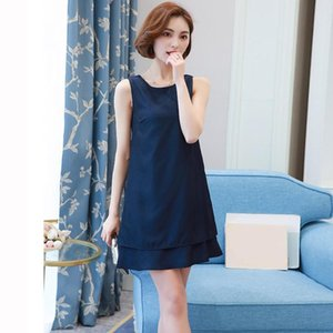 CHAMSGEND Women Casual Summer Dress Plus Size O-neck Tank Top Loose Clothing Side Pocket Fashion Sexy Solid Sleeveless Dresses