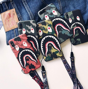 Wholesale Mobile phone case camouflage shark mouth mobile phone protective cover grinding Creative hanging rope for iphone X XS XR