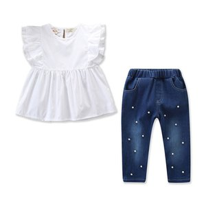 2 Pieces Clothing Sets Baby Girl Clothes Flying Sleeves T Shirt And Pearl Attached Denim Suit on Sale