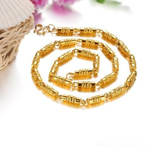 Wholesale Exaggerated Thick Bamboo Carving Jewelry Domineering Men Gold Necklace Environmental Copper K Gold Vacuum Plated Joyas Male Joyas