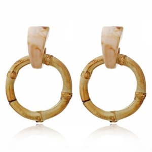 Wholesale Large Round Wood Drop Earrings Natural Bamboo Pendant Exaggerated Acrylic Circle Statement Dangle Earrings for Women Jewelry Christmas Gift