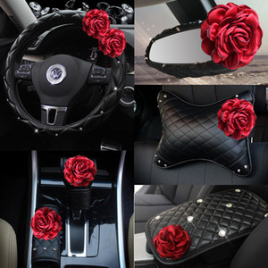 Wholesale Red Rose Flower Car Seat Interior Accessories Leather Steering Wheel Cover Auto Crystal Headrest Support Handbrake Shifter Cover