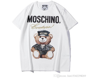 Wholesale 2019 Summer New Moschin fashion Tee Cotton Short Sleeve Breathable Men Women Moschinos Swing Bear Casual Outdoor Streetwear T shirts