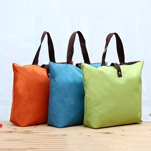 Wholesale Foldable Storage Bags Shopping bag Waterproof Reusable D Oxford fabric Portable Women Travel Tote Handbag eco friendly pouch FFA2009