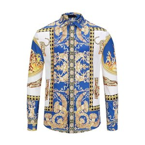 Wholesale HOT autumn and winter Harajuku Medusa gold camisa hawaiana chain dog rose print shirt fashion retro floral sweater men's long-sleeved shirt