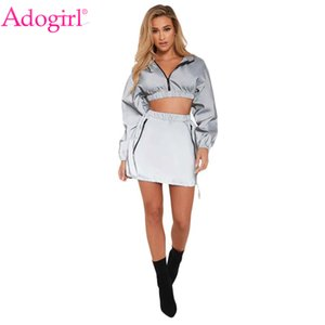 Adogirl Women Reflective Tracksuit Zipper Long Sleeve Hooded Sweatshirts Crop Top + Pockets Mini Skirt Night Version 2 Piece Set Q190521