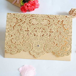 Wholesale 1pcs Gold Red White Laser Cut Luxury Flora Wedding Invitations Card Elegant Lace Favor Envelopes Wedding Party Decoration
