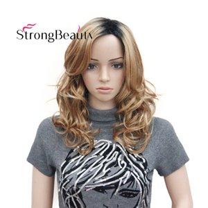 Medium Light Strawberry Blond with Dark Brown Root Ombre Top Quality Curly