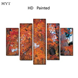 Wholesale No framed HD Printed Paintings Spray prints image Canvas Wall Art pictures pieces Red maple leaf scenery For living room Home Decor