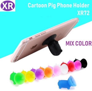 Wholesale 500pcs Cartoon Pig Bracket Silicone Suction Cup Lazy Mobile Phone Holder Mix Color Cheap Price Potable Stand For Iphone x Samsung S9 Huawei