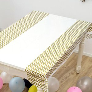 Wholesale Gold Silver Wave Dot Tablecloth Disposable Plastic Table Cloth Wedding Party Birthday Baby Shower Decorations ZC1252