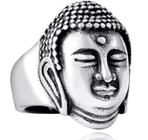 Wholesale indian buddha resale online - 316L Stainless Steel Fashion Punk Personalized Religion Shriman Muni Buddha Portrait Men s Ring Jewelry US Size