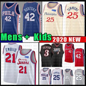 Ben 25 Simmons Joel 21 Embiid Philadelphia Basketball Jersey 76ers Al 42 Horford Allen 3 Iverson Julius 6 Erving NCAA Mens Youth Kids