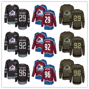 Mens Colorado Avalanche 29 Nathan MacKinnon 92 Gabriel Landeskog 96 Mikko Rantanen Hockey Jerseys Burgundy Red Jersey Green Salute 100th on Sale