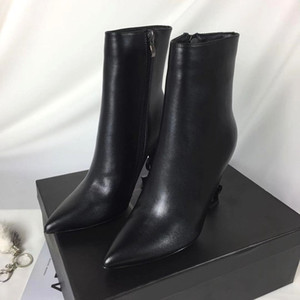 Hot Sale-The high quality The designer black The letter spike Ankle Boots mid-calf women boots