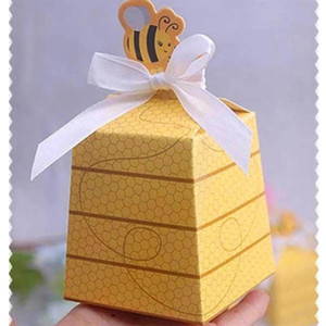 Wholesale Yellow Bee European Style Favors Candy Boxes Gift Box with White Ribbons Baby Shower Wedding Birthday Party Supplies