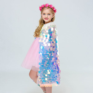 Wholesale Girls Cosplay Princess Cloak Sequins Colorful Mermaid Mantillas Cape Halloween Party Cape Cosplay Costume Props