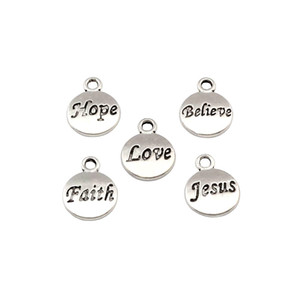 Wholesale hope necklaces bracelets resale online - Hope Believe Love Faith Jesus Charms Pendants x15 mm Antique Silver Fashion Jewelry DIY Fit Bracelets Necklace Earrings A