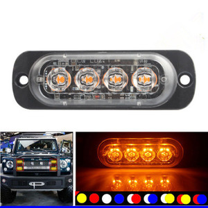 4pcs 12-24V Truck Car 4 LED Flash 12w Strobe Emergency Warning Light Flashing Lights