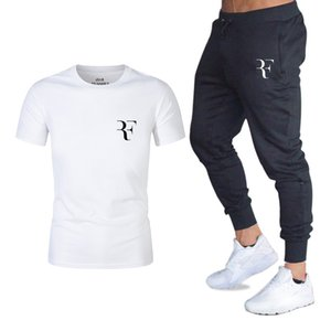 New Hot Sale Men's Sets T Shirts+pants Two Pieces Sets Casual Tracksuit Male Casual Tshirt Print Roger Federer Rf Trousers Men on Sale