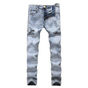 azul cabo al por mayor-Lápiz Jeans Hombres Denim Cintura elástica alta desgastada Slim Fit Snow Pale Blue Pocket Zipperd Long Pants