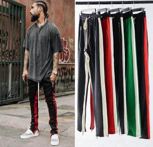 Wholesale Unique Mens Panelled joggers pants hip hop Fear Of God Fashion Designer Sweatpants Red Bottoms Justin Bieber FOG streetwear Trousers L005