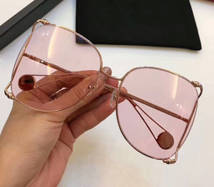 Wholesale 0252s Sunglasses Gold Brown Gradient Pearl Oversize Women Designer Sunglasses Sun Glasses new with box
