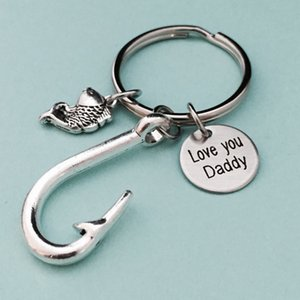 Wholesale hook fishing small resale online - Fish Hook Keyring Metal Keychain Lovely You Daddy Letter Print Personalize Car Keychain Small Key Chain Ring Father s Day Gift VT1742