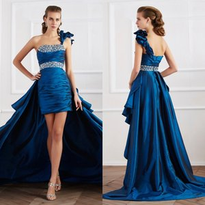 High Low One Shoulder Prom Dresses Navy Blue Vintage Silk Satin Beaded Formal Evening Gowns Inexpensive Modest special occasion dresses 2018 on Sale