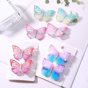 Wholesale 2pcs Fashion Hair Barrette Hair Clip Butterfly Clips Cute Headdress Pin For Girls Children Accessories