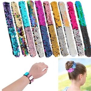 Hot sale women sequin wristband Glitter Slap Mermaid paillette Bracelets Charms Wristband for Kids top quality