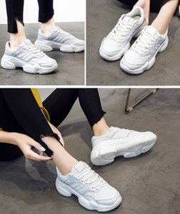 Wholesale korean running shoes for sale - Group buy 2019 Dad shoes women s Korean new leather small white shoes women sports running shoes boots walking gym jogging boots online stores