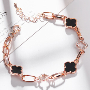 New 4 colors Beautiful Bracelet for Women Colorful Austrian Crystal Fashion Heart Clover Chain Bracelet Wholesale
