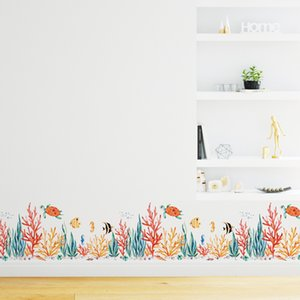 Wholesale Baseboard Marine plants fish Wall Stickers for kids rooms Art Living room Bedroom nursery home decor Mural Decal sticker