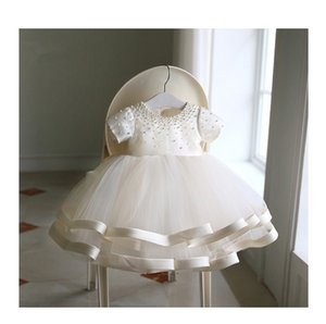 Beaded Baby Girl Dresses Newborn 1st Birthday Dress Layered Tulle Bow Little Girl Party Dress Infant Baptism Christening Gown