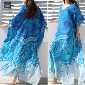 Wholesale Ocean Beach Dress Printed Bohemian Blue Kaftan Plus Size Tunic Women Summer Beachwear Half Sleeve Maxi Dress Solid Robe N669